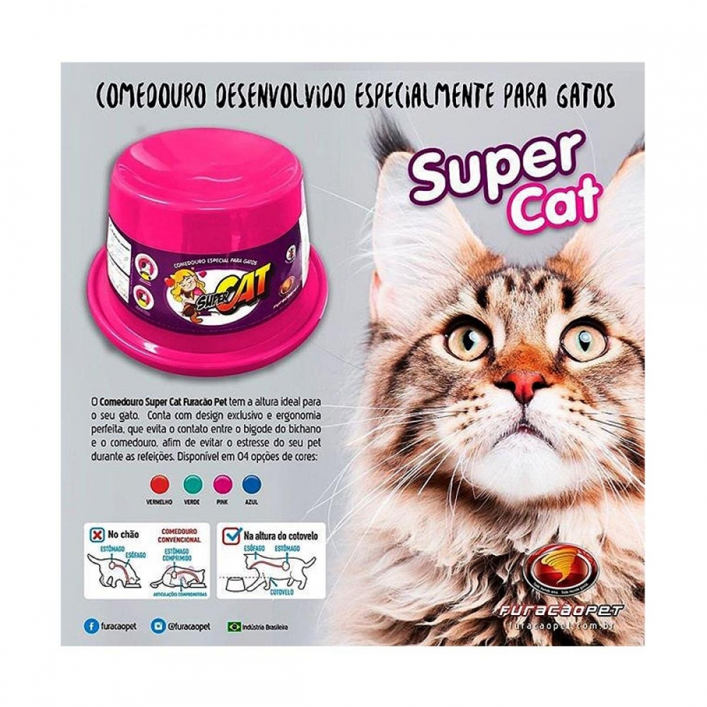 Comedouro Alto para Gatos Super Cat Furacão Pet
