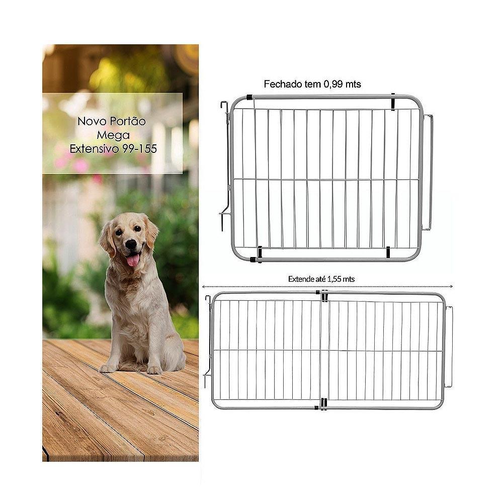 Grade Portão para Cachorro Pet Extensivo 99-155cm c/ Trava de Segurança Açomix