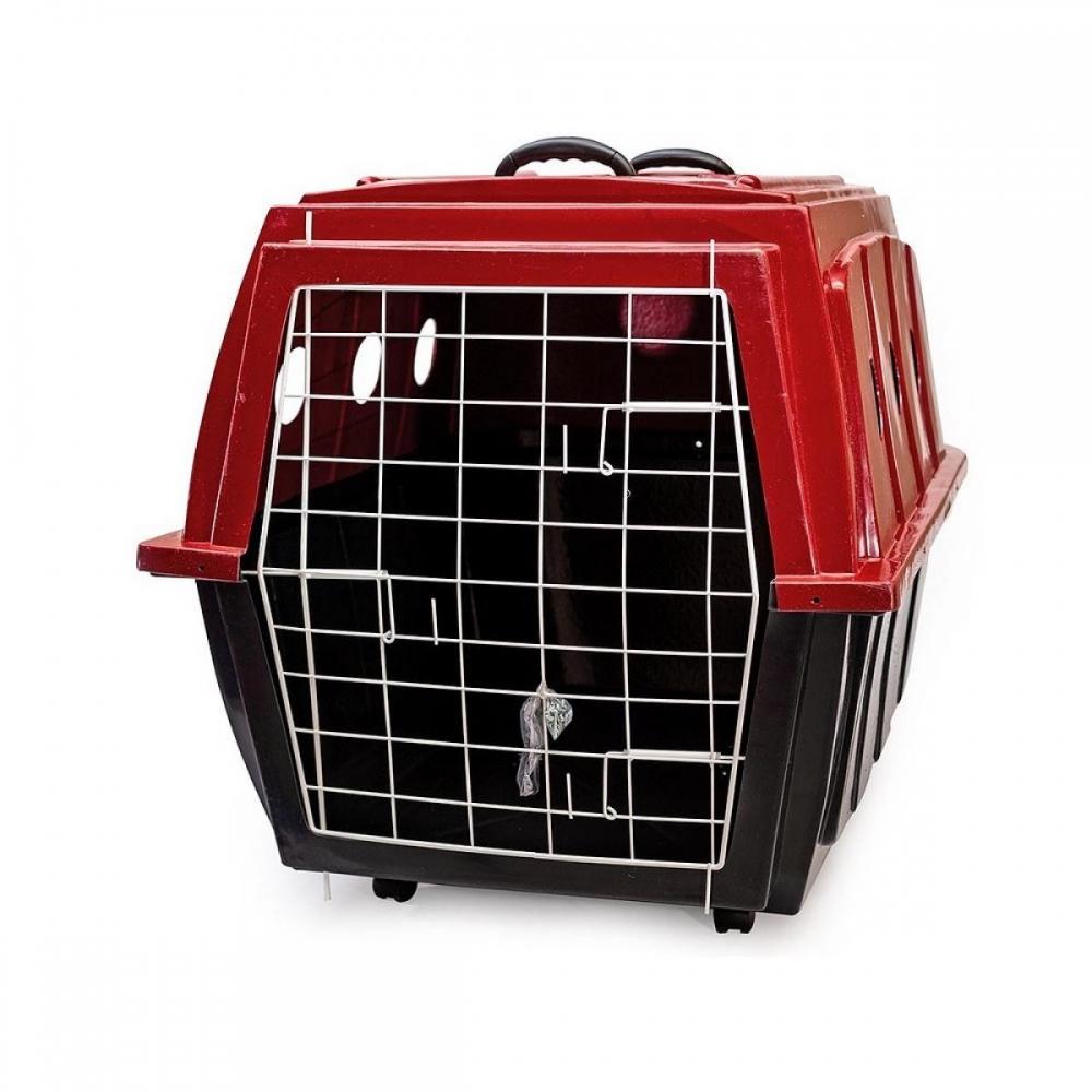 Caixa de Transporte para Cachorros Plast kão nº4 Vermelha com rodinhas
