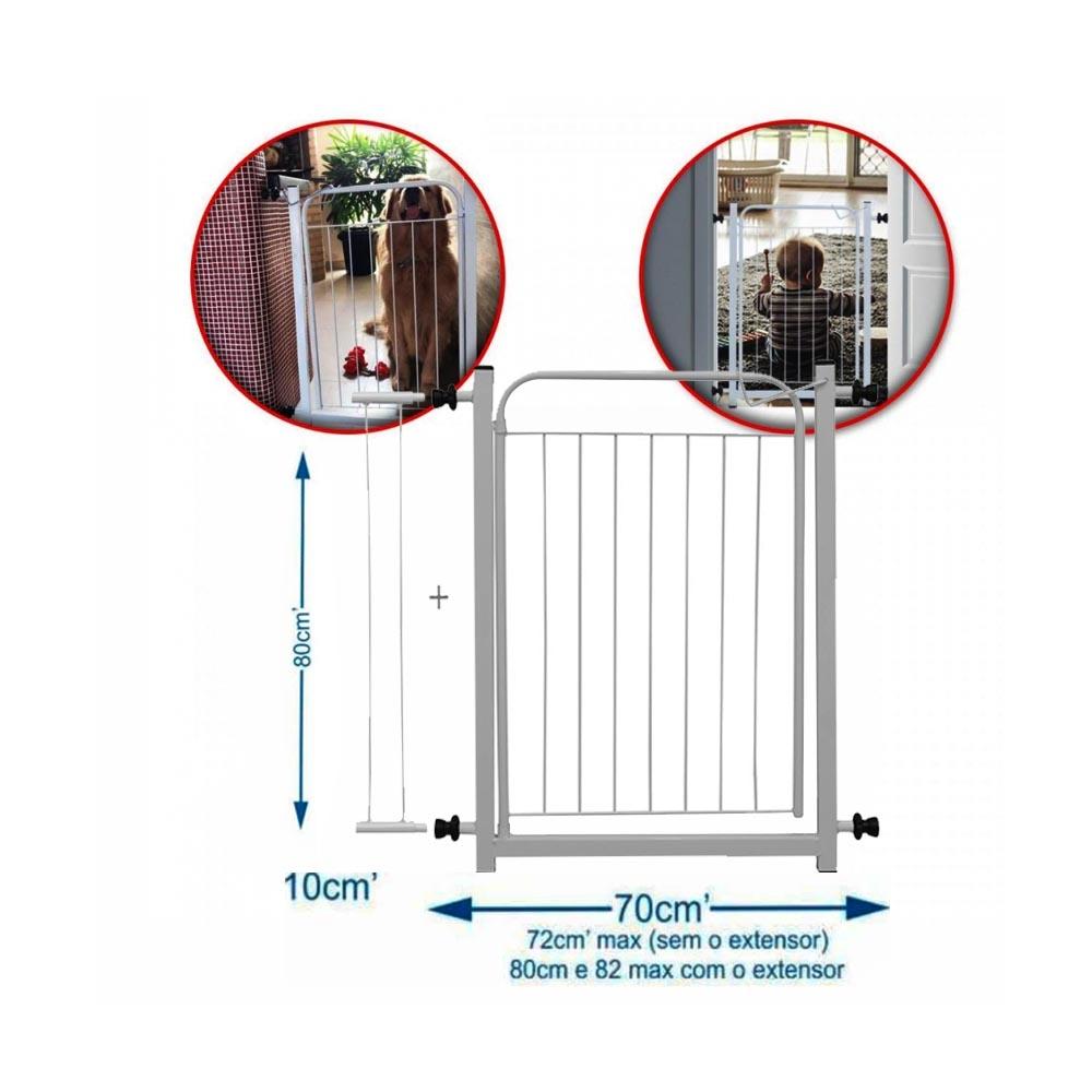 Portão Grade Para Cachorro e Criança 70 X 80cm com extensor branco